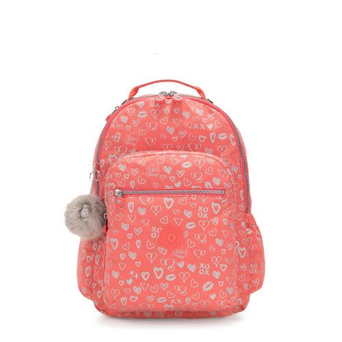 Kipling Seoul Go Backpack With Laptop Protection - Hearty Pink Met - 21316-83S