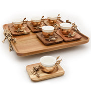 Otantik KB1031-2W Coffee Cup and Saucer Set with Tray - Antique Gold - KB1031-2W - Jashanmal Home