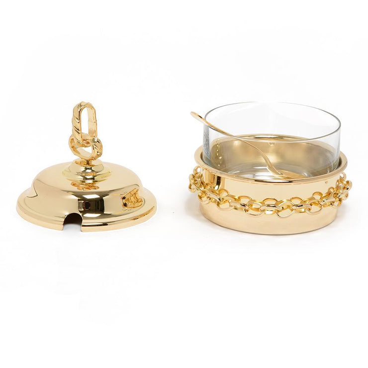 Pantazelos Gold Plated Set Chain Sugar Pot with Cover and Spoon - Gold - Q-1421/GP