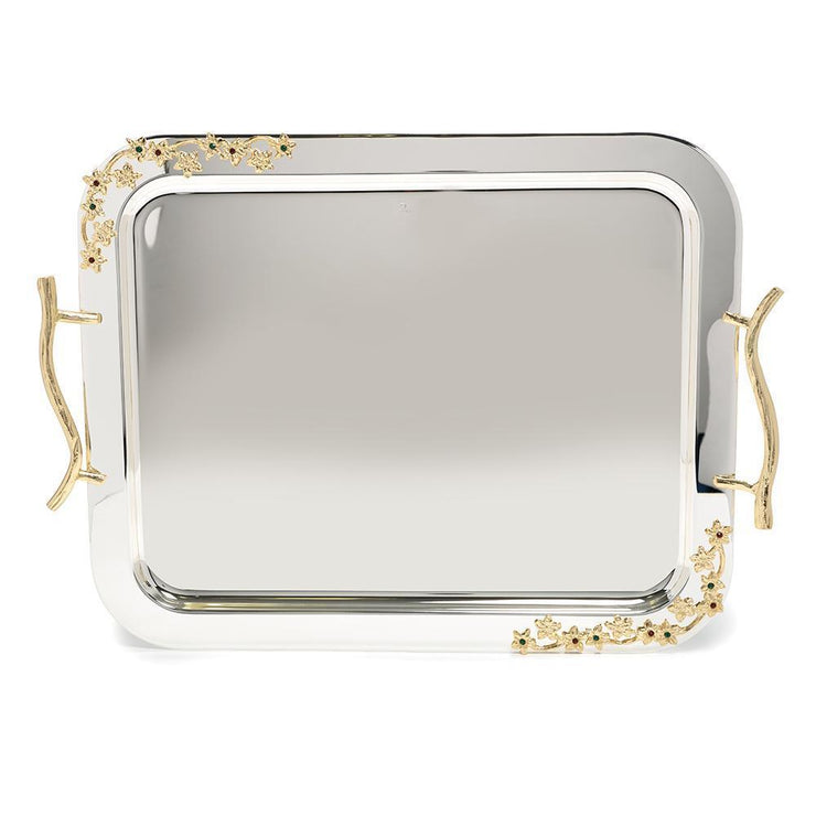 Pantazelos Silver and Gold Plated Tray - Silver and Gold, Large - Q-5545/SPGP