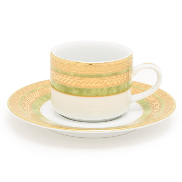 Dankotuwa Porcelain Berlinda Coffee Cup and Saucer Set - Light Green and Gold - BERGRN-0692/93