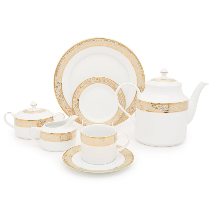 Dankotuwa Porcelain Catherina Tea Set - Gold, 24 Piece - CATH-24TS