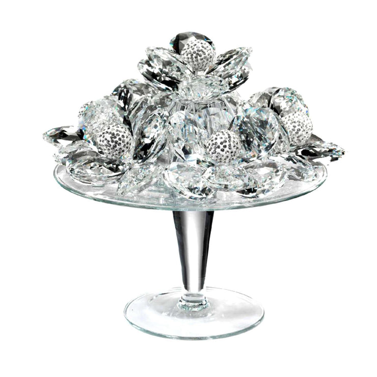 Debora Carlucci Glass Riser with Crystal Flower and Strass Spheres - DC5504