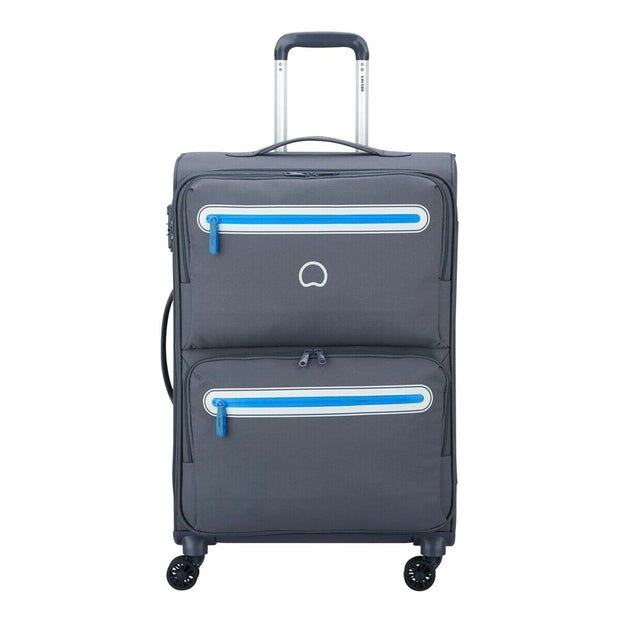 Delsey Carnot 4 Double Wheel Cabin Trolley Bag - Grey, 68 cm - 00303881111 GREY - Jashanmal Home