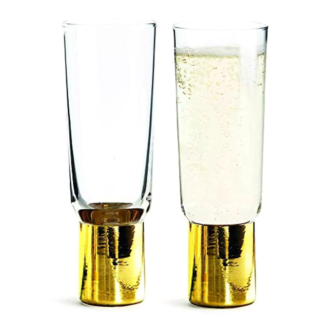 Sagaform Champagne Glass Set of 2 - Clear and Gold, 200 ml - SA5009118 - Jashanmal Home