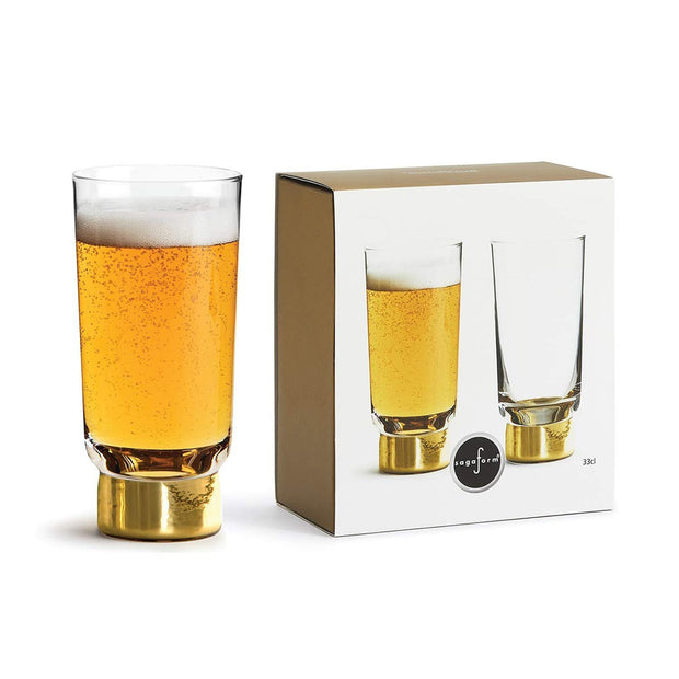 Sagaform Tumbler Glass Set of 2 - Clear and Gold, 330 ml - SA5009119 - Jashanmal Home