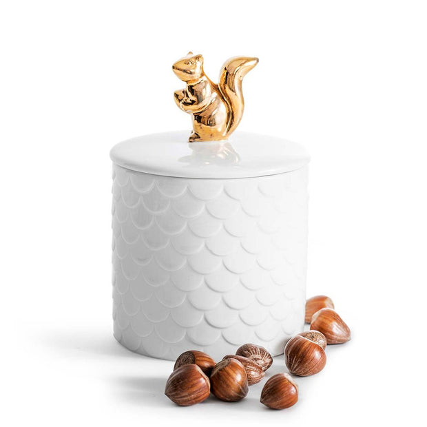 Sagaform Squirrel Jar With Lid - White and Gold, 450 ml - SA5017703 - Jashanmal Home