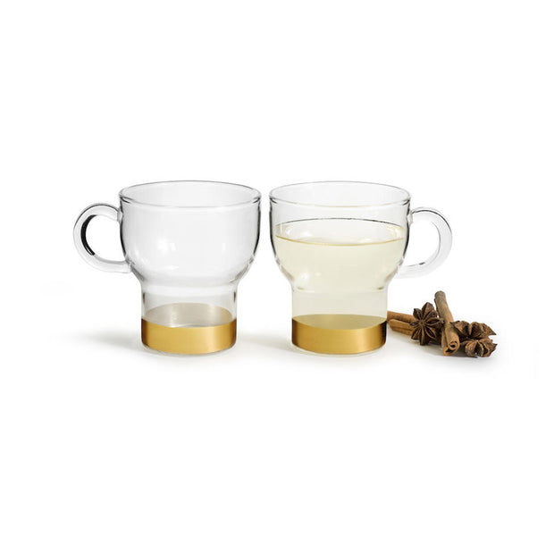 Sagaform Small Glass Mug - Gold, Set of 2 - SA5017748 - Jashanmal Home