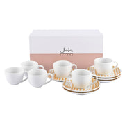 Silsal Ghida Turkish Coffee Cups and Saucer Gift Set - Gold and White, 12 Pieces - GRP296-TGB