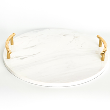 Load image into Gallery viewer, BIANCO ROUND MARBLE TRAY