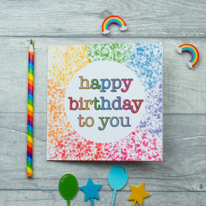 Splatter rainbow Birthday card - 3 options