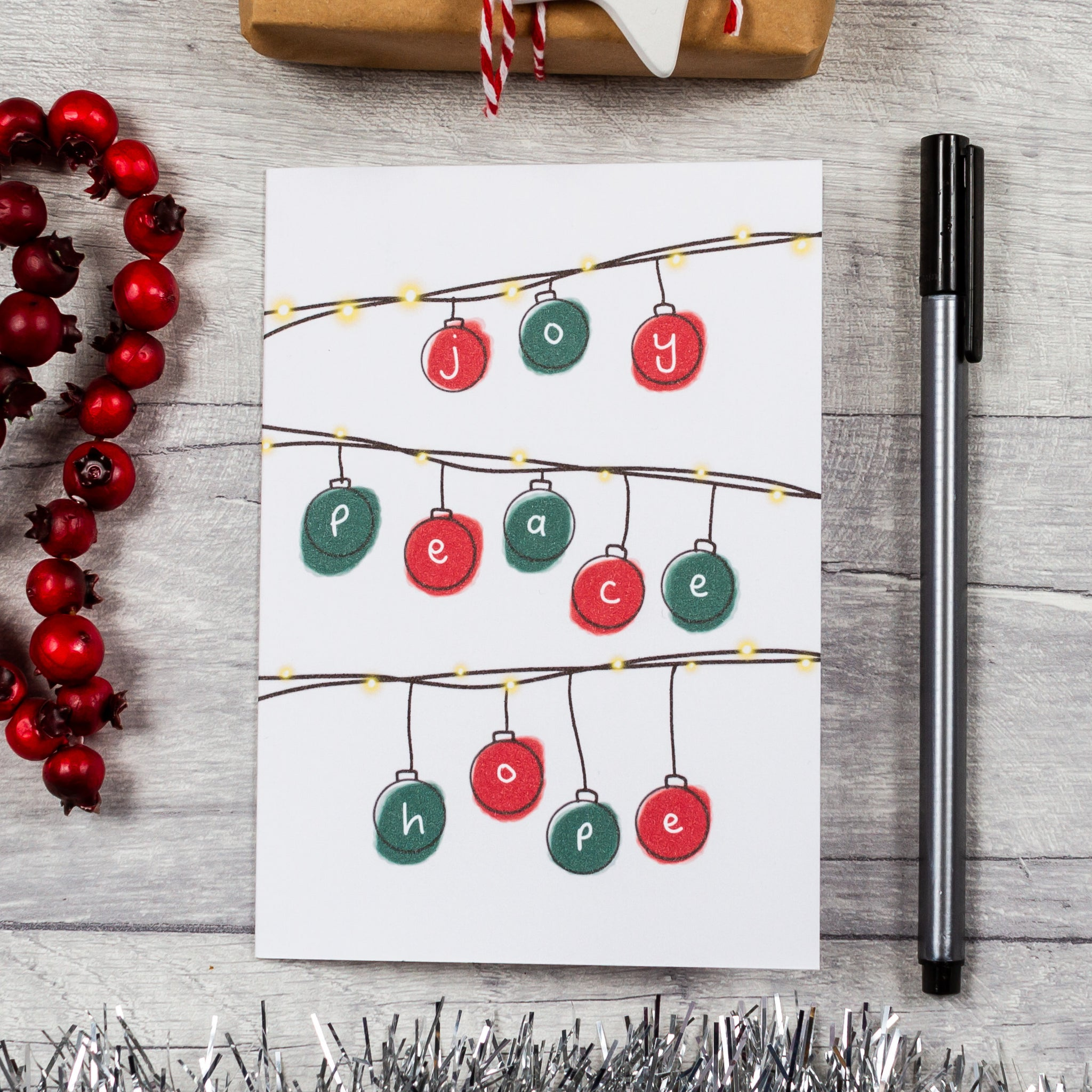 Red and green bauble Christmas card - 8, 12 or 16