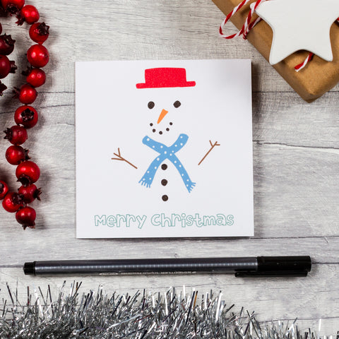 Snowman square Christmas card - 10, 20 or 30