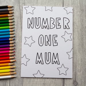 Colour your own - Number one mum card