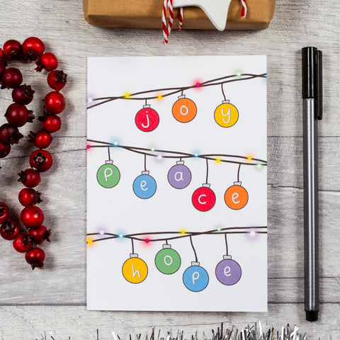 Rainbow bauble Christmas card - 8, 12 or 16