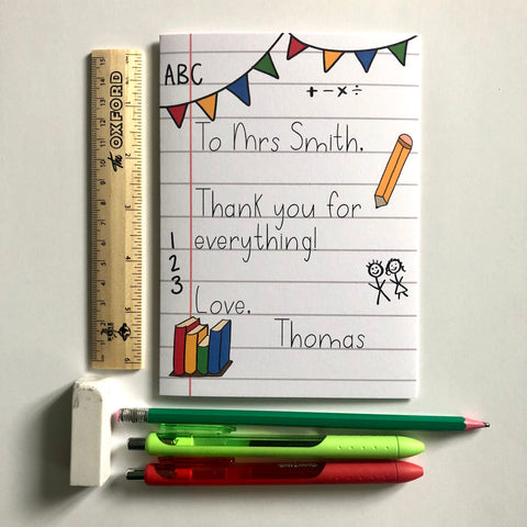 **Personalised** Notepad teacher thank you card