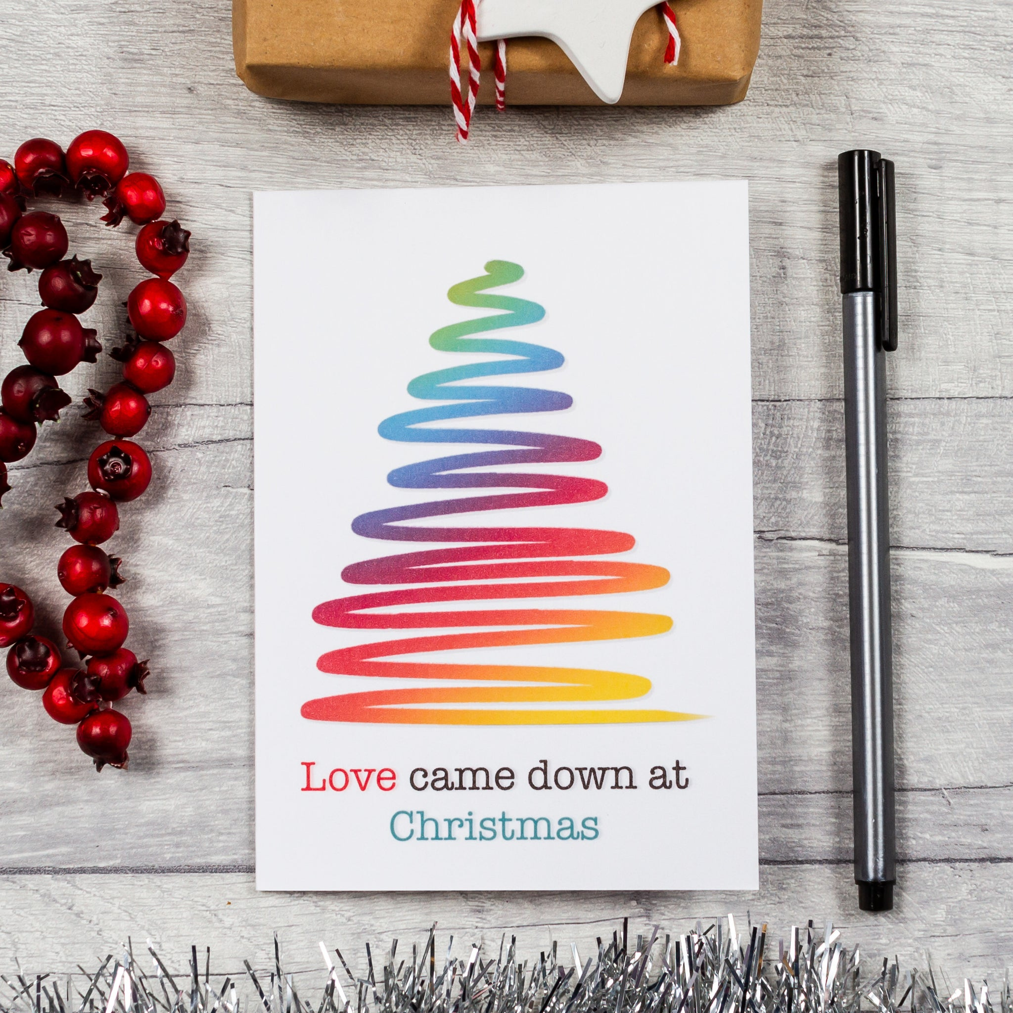 Love came down rainbow tree Christmas card - 8, 12 or 16