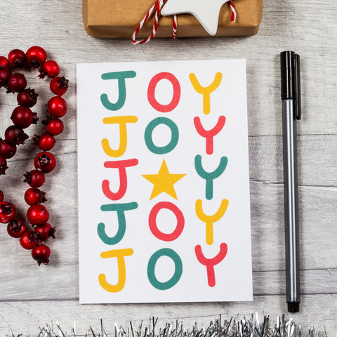 Joy Christmas card - 8, 12 or 16