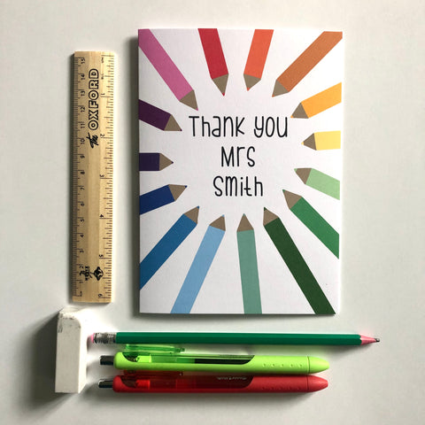 **Personalised** Pencils teacher thank you card