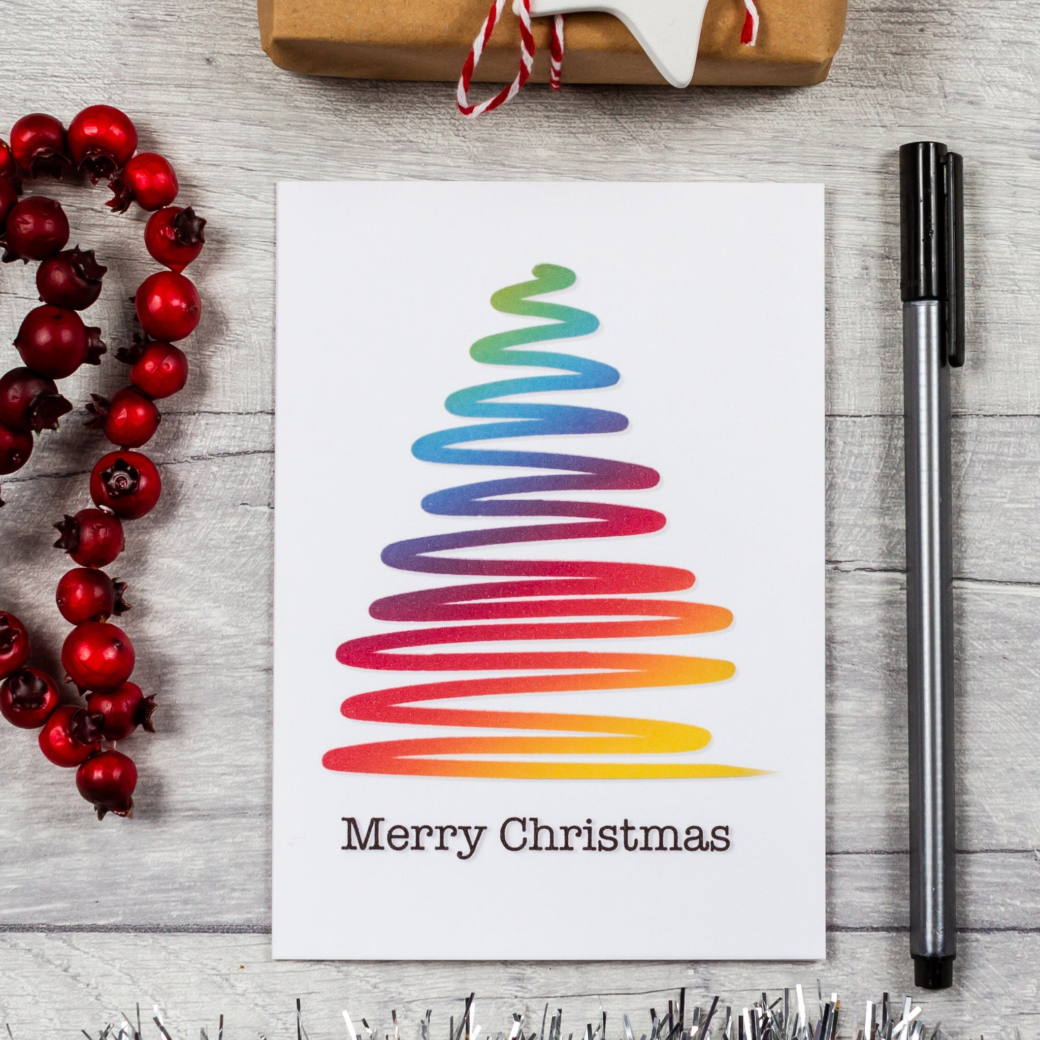 Rainbow Christmas tree card - 8, 12 or 16