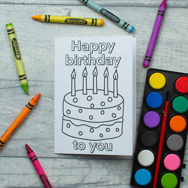 10 KIDS colour your own birthday cards