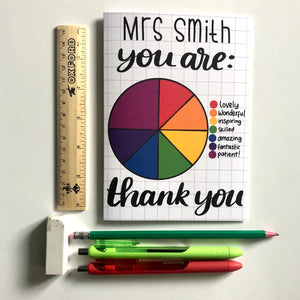 **Personalised** Pie chart teacher thank you card