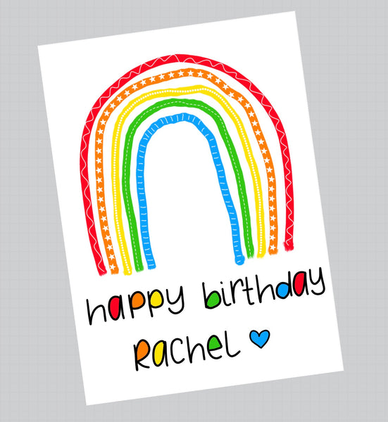 Patterned rainbow birthday card