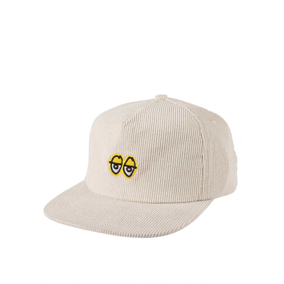Krooked Eyes Snapback Hat, white/yellow