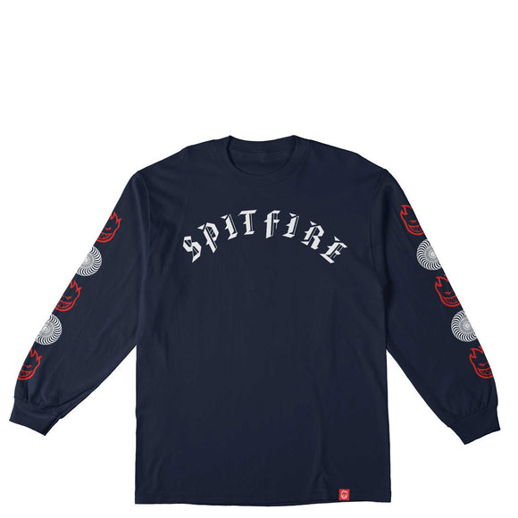Spitfire Old E Premium Print Combo Sleeve L/S tee Navy/Red/White Print