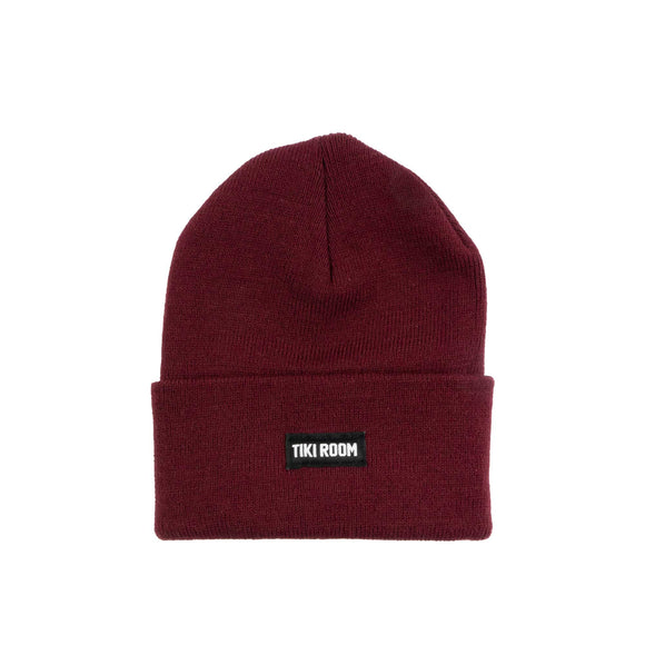 Tiki Room Straight Label premium beanie, burgundy