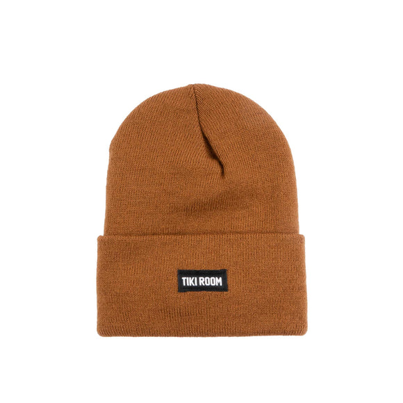 Tiki Room Straight Label premium beanie, toffee