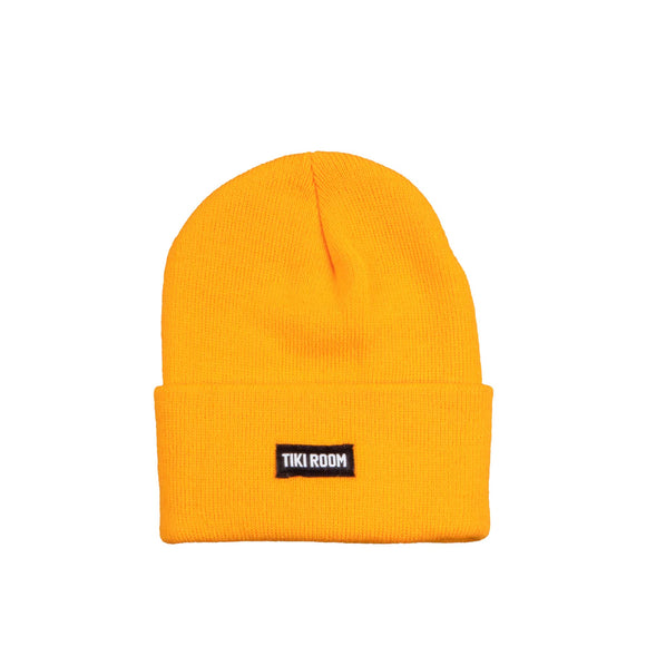 Tiki Room Straight Label premium beanie, goldenrod