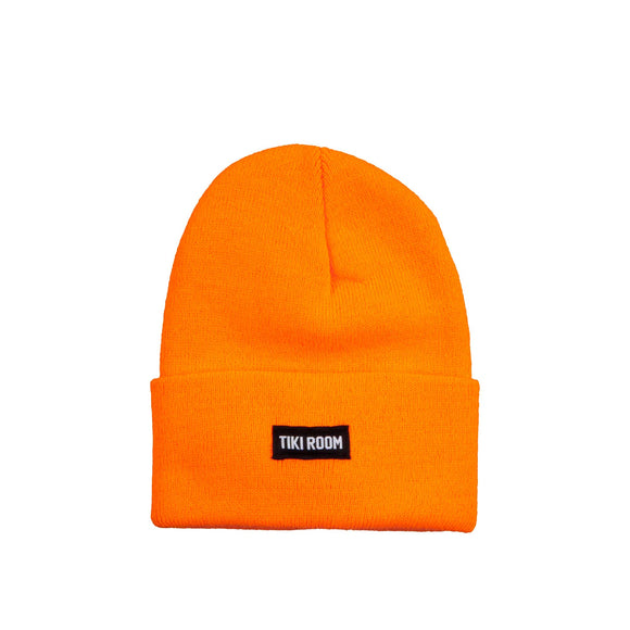 Tiki Room Straight Label premium beanie, safety orange
