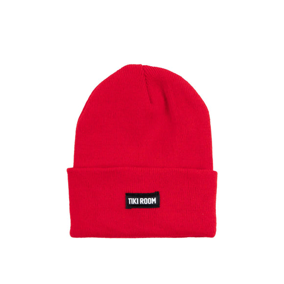 Tiki Room Straight Label premium beanie, red