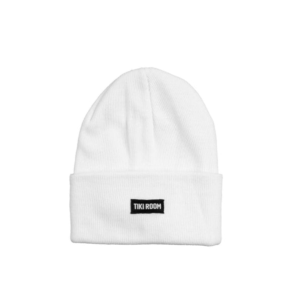 Tiki Room Straight Label premium beanie, white