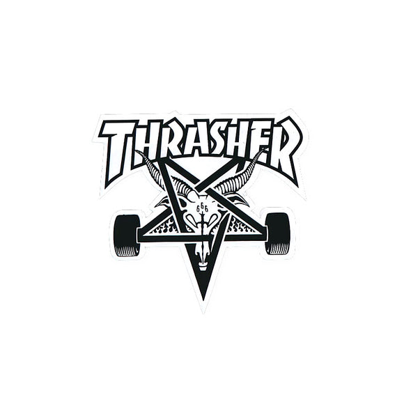 Thrasher Skategoat sticker, white/black text