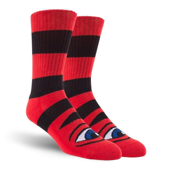 Toy Machine Sect Eye Big Stripe socks, Red Canada