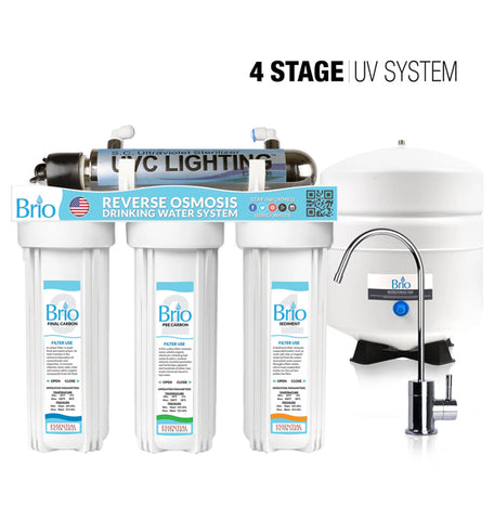 4 Stage Reverse Osmosis UV Water Filter System, UVC Lighting, RO, Brio Signature