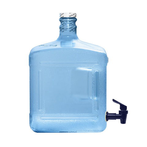 3 Gallon Square Polycarbonate Plastic Reusable Water Bottle with Screw Cap and Valve