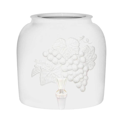 Embossed Grapes Porcelain Water Crock, White