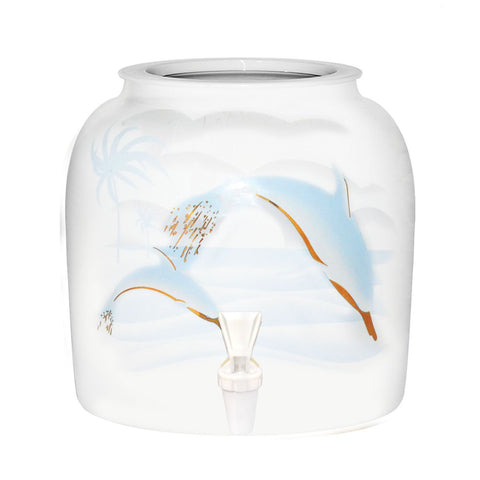 Light-Colored Dolphins Porcelain Water Crock