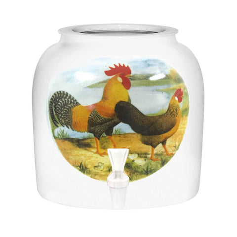 Rooster And Hen Porcelain Water Crock
