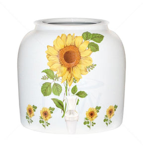 Porcelain Water Crock with Straight Sunflower Design