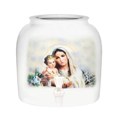 Virgin Mary & Baby Jesus Porcelain Water Crock
