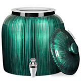 Porcelain Water Crock Vertical Stripe, with Chrome Faucet