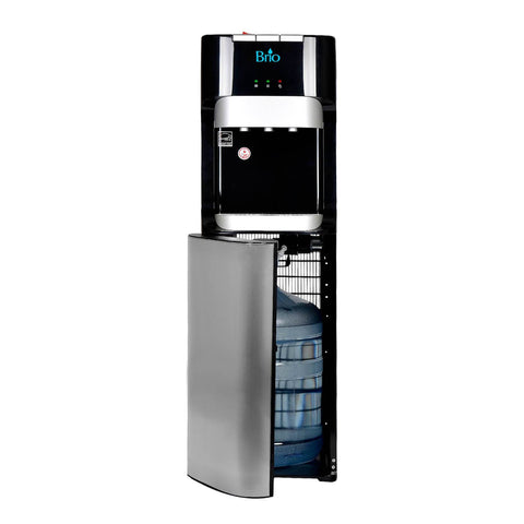 Hot Cold and Room Temp Water Dispenser Cooler Bottom Load, Tri Temp, Black and Brush Stainless Steel, Brio Essential