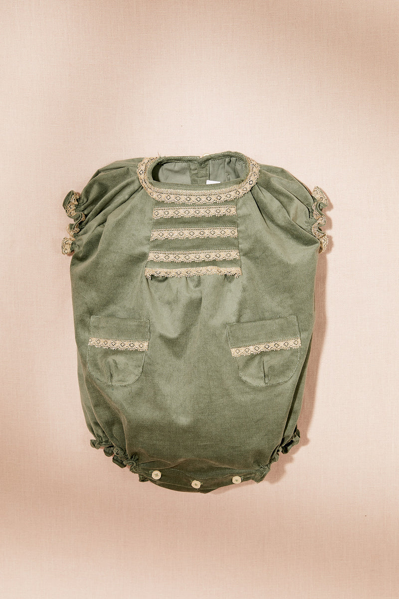 Chips Baby Romper in Corduroy Green - Strawberries & Cream