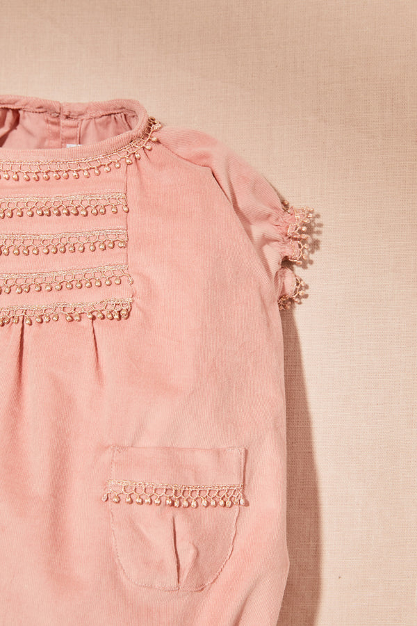 Chips Baby Romper in Corduroy Pink - Strawberries & Cream