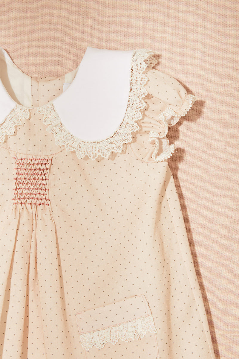 Cotton Dots Popcorn Dress Pink