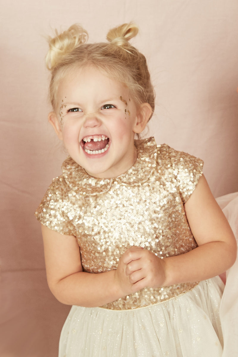Fairy Tutu Bella Dress Gold - Strawberries & Cream